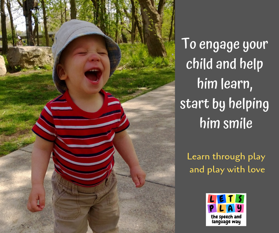 Toddlers learn to talk when they are engaged in the activity.  Look for their smile.